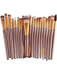 Voberry® Professionnel 20 pcs/set Pinceaux - Brosse de Maquillage / Brush Cosmétique Beauté & Make-up Manche en Bois Or (A)