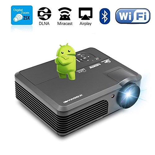 Wireless Projector Wifi Bluetooth 4200 Lumens (2017 Updated), Portable HD LED Projector 1080p Support, Digital Home Theater Cinema Projector Indoor Outdoor Movie Game with HDMI USB TV Audio AV Ports