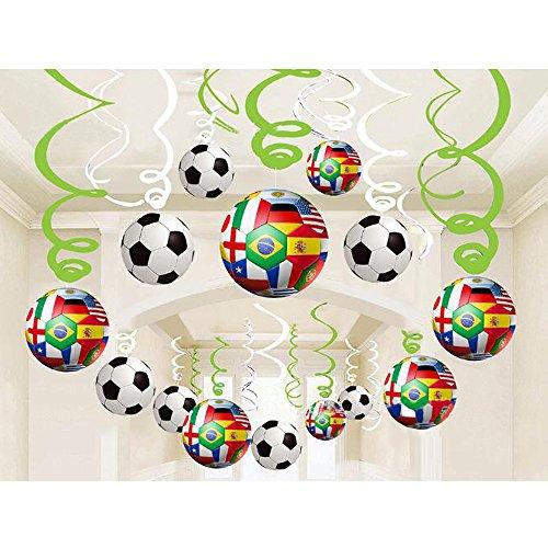 lie Hängende Wirbelt Dekorationen, 30 Stück Party Luftschlangen Home Bar Decke Dekoration Fußball Thema Party Supplies für 2018 World Cup Party Geburtstag Graduation Party Decro (Hängende Dekorationen)