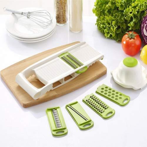 Kingken - Juego de 1 cortador de cuchillas multifunción de acero inoxidable para verduras y mandolina...