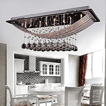 DINGGUTM Luxuriant Crystal Pendant Light With 8 Lights Ceiling Fixture Flush Mount Chandeliers Lighting Bulb Included Fit For Kitchen