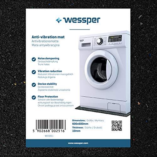 Wessper Antivibrationsmatte für Waschmaschinen Candy Aqua 600 T (60 x 60 x 1cm, Gummimatte)