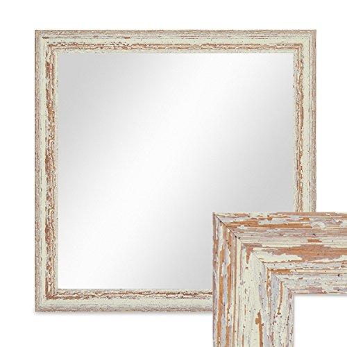 PHOTOLINI Wand-Spiegel 46x46 cm im Holzrahmen Weiss Shabby-Chic Vintage Quadratisch/Spiegelfläche...