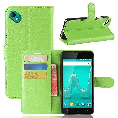 Handyhülle für Wiko Sunny 2 Plus 95street Schutzhülle Book Case für Wiko Sunny 2 Plus, Hülle Klapphülle Tasche im Retro Wallet Design mit Praktischer Aufstellfunktion - Etui Grün