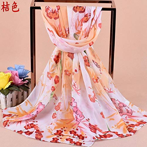 JJHR Seide Schal Chiffon für Für Herbst Und Winter Schmetterling Bambus Blatt Blume Chiffon Bedruckter Seidentuch Damen Schal - Square Schmetterling Blatt