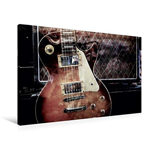 Premium Textil-Leinwand 90 cm x 60 cm quer, Blues Rock | Wandbild, Bild auf Keilrahmen, Fertigbild auf echter Leinwand, Leinwanddruck: Les Paul Style vor Gitarrencombo (CALVENDO Kunst)