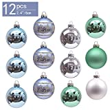 Valery Madelyn 12 Stücke 6CM Glas Weihnachtskugeln Set Eisblau Grün Silber Glänzend Matt Christbaumkugel mit Aufhänger Weihnachtsbaumschmuck Weihnachtsdekoration