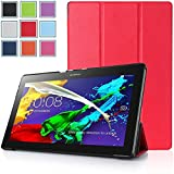 Bestdeal® High Quality Ultra Slim Lightweight SmartCover Stand Case for Lenovo Tab 2 A10-70 10.1 inch Tablet PC + Screen Protector and Stylus Pen (Red)