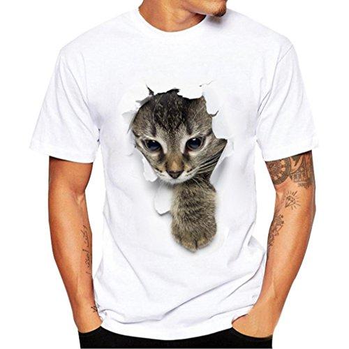 Venmo Pareja Camiseta Set Gato Impresión Hombres Mujer Casual Fashion Tops Tees, San Valentín Amante Pareja (Camiseta de Mujer, M)