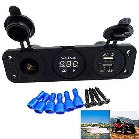 GEREE DC12V Trois Trou Panneau ATV DC LED numérique Voltmètre/Double USB 2 Ports /Cigarette Plus léger Prise Pour voiture Moto Bateau Camions
