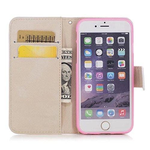 Coque iPhone 5/5s/5se Coquille de Licorne en cuir avec la fonction slot slot carte et Sparkling Glitter Star pattern Housse(Brun-01) Rose golden-02