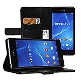 EasyAcc Sony Xperia Z2 Hülle Wallet Case Handytasche Handycover Flip Cover Ledertasche Lederhülle Schutzhülle Hüllen Hülle Tasche mit Standfunktion für Sony Xperia Z2