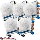 AZDelivery 5 x HC-SR501 PIR Bewegungssensor Bewegungsmelde Modul für Arduino mit gratis eBook!