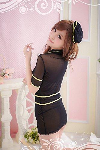 Shangrui Femmes Satin Hôtesse Vêtements Jaune Crochet Mince Sous-vêtements en Dentelle Pyjamas Cosplay Bottom W060 Noir