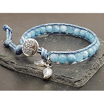 Armband Aquamarin Lebensbaum, blaues Bohoarmband mit Leder Aquamarin, Geburtsstein März