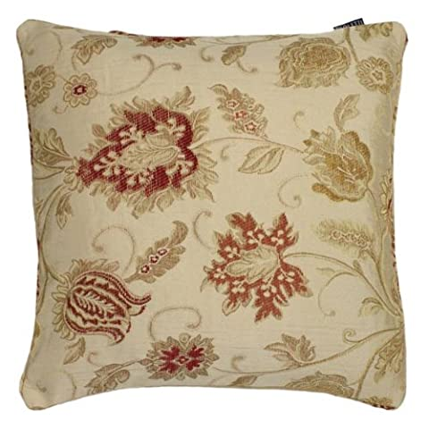 Paoletti Zurich Floral Chenille Jacquard Piped Cushion Cover, Champagne, 45 x 45 Cm