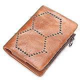 Y&M MY Monedero de Cuero extraíble Monedero Bolso de Embrague Bolsa con Tachuelas para Hombres Mujeres (Color : Brass, Size : S)