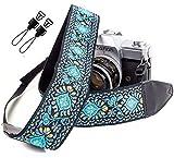dragonne de caméra tissée vintage bleue pour tout appareil photo reflex numérique - dragonne universelle brodée,bandoulière à motif floral pour Canon, Nikon, Sony, Fujifilm et appareil photo numérique