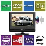HKC 13M4C 13,3 Zoll (33.68 cm) LED-Fernseher mit DVD-Player (HD-Ready, Triple Tuner DVB-T2/S2/T/S/C, CI+.265/HEVC. 230V / 12V Kfz-Adapter, schwarz) [Energieklasse A +]