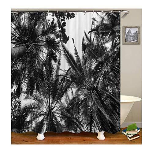 Beydodo Vintage Duschvorhang 180x200 cm Palme Antischimmel Wasserdicht Duschvorhang -