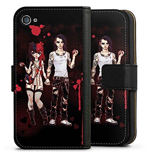 Apple iPhone X Silikon Hülle Case Schutzhülle Valentine Dark Comic Boy and Girl Sideflip Tasche schwarz