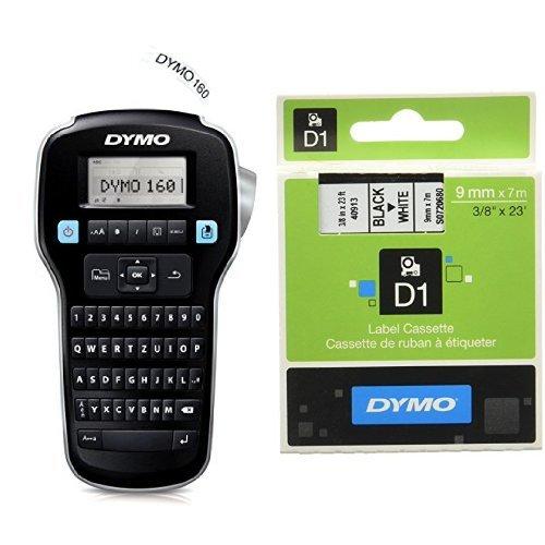 Dymo LabelManager 160 Tragbares Beschriftungsgerät + D1-Etiketten (Selbstklebend, für den Drucker LabelManager, 9 mm x 7 m Rolle) schwarz auf weiß
