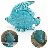 LS Design Bad-Deko Fisch Blau Türkis Figur Skulptur Maritim Bad-Accessoires 14x5x14cm groß 1 Fisch