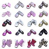 ZITA ELEMENT 5 Paare Puppen Schuhe für 43cm-46cm Babypuppen 18 Zoll American Girl Doll und Stehpuppen Puppenbekleidung Puppenzubehör