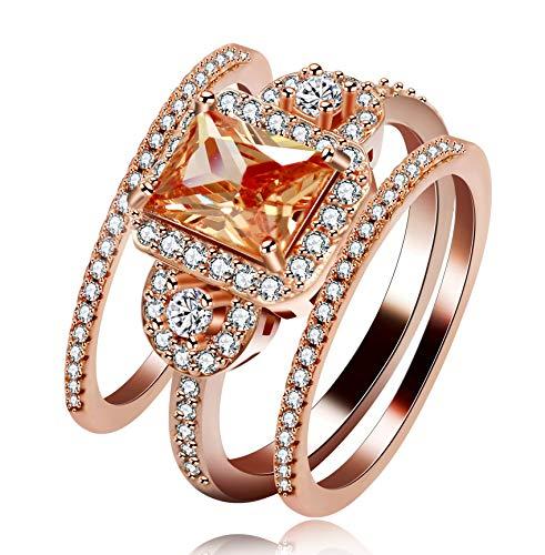 Uloveido Sqaure Orange Gelb CZ Zirkon 3-Stone Stack Ringe Set für Jubiläum Braut Brautjungfer, Rose Gold plattiert Zirkonia Kristall Ringe Ewigkeit Bands (Größe 62) Y434 (Gold-emerald-cut-ringe Rose)
