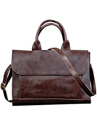 Huntvp Men'S Leather Messenger Bag Shoulder Laptop Briefcase Business Office Bag