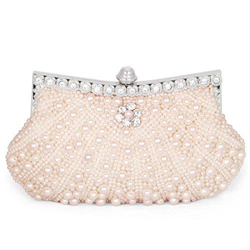 BMC da donna perle sintetiche cover posteriore con perline strass da sera Fashion con frizione Rosa (Pink Champagne)