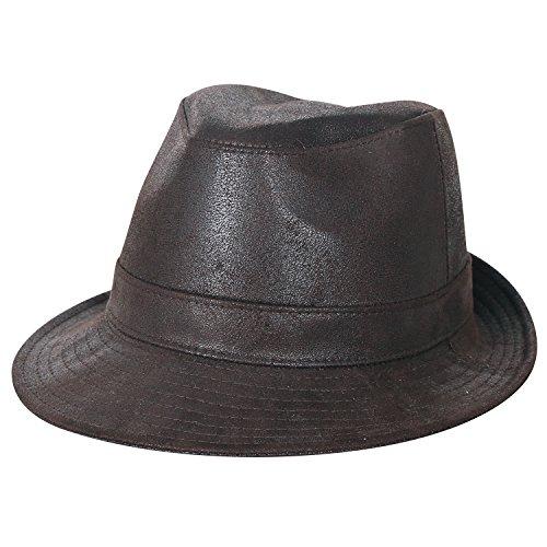 ililily grosses Ausmaß künstliches Leder Panama Filzhut Fedora künstliches Leder Band trimmen Hut , Dark Brown, X-Large (Brim Hut Full)
