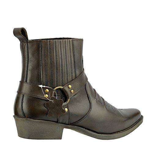 Kick Footwear - Herren Cowboy Ankle Boots Aus Leder Biker-Boots Aus Leder Toe Braun