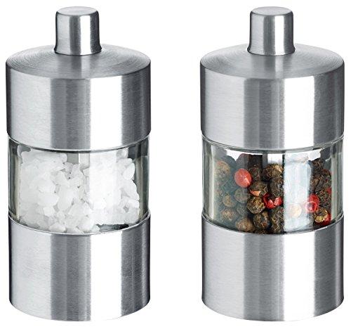 VEGA Mini-Salz-/Pfeffermühlen-Set Moreno, 8.5cm (H), silber/transparent, Korpus Edelstahl, Materialmix Acryl, Edelstahl, Keramikmühle 1 Set Silber Salz