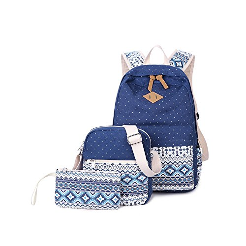 Yvonnelee Canvas Schulrucksack Schultasche Stifteetui Set für Schule Jugendliche Jungen Mädchen Jungs Uni Damen Rucksack Daypack mit Umhängetasche Kosmetiktasche für Freizeit Outdoor Groß - Dunkelblau