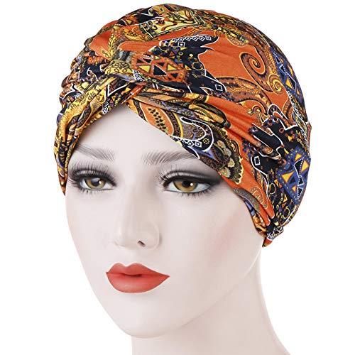 LU KU Chemotherapie Kopftuch Mütze, Haarausfall Baotou Mütze Doppelblumentuch Twisted Head Cap Muslimische Kopftuch Tasse Schlafmütze Badekappe warme Strandmütze Haarschutz,Orange