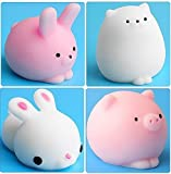 #8: Squishy Toys Squishy Cat Toys Mochi Cute Squishy Toy Squeeze Stress Reliever for Kids/Adults (Bunny + RABIT + Owl + Pig)
