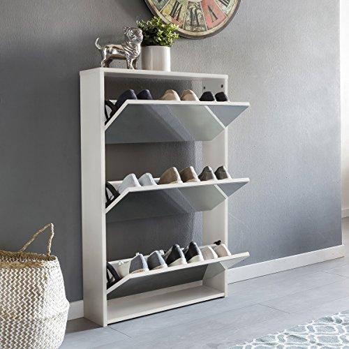 FineBuy Schuhkipper NIKI 3 Klappen Weiß mit Spiegel 63x103x17 cm Schuhschrank Holz | Schuhkommode geschlossen | Schuhregal hoch Kipper schmal | Schuhaufbewahrung verspiegelt | Design Flurmöbel Dielenmöbel
