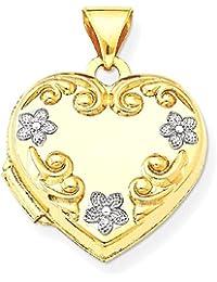 ICE CARATS 14k Yellow Gold Heart Locket Flowers Fine Jewelry Gift Set For Women Heart