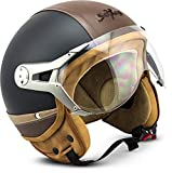 SOXON SP-325-URBAN Black · Mofa Retro Helmet Chopper Roller-Helm Pilot Scooter-Helm Jet-Helm Vespa-Helm Bobber Vintage Biker Cruiser Motorrad-Helm · ECE zertifiziert · Leder Design · mit Visier · inkl. Stofftragetasche · Schwarz · S (55-56cm)