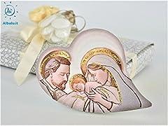 Idea Regalo - Albalù Italia Bomboniere Icona Sacra Famiglia Quadretto Legno Cuore Oro Brown - misura cm 10x13 cm