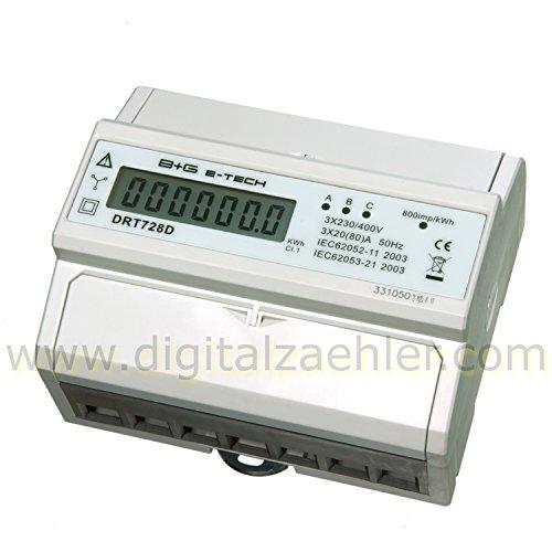 B+G E-Tech DRT728D - digitaler Stromzähler Drehstromzähler Wattmeter für DIN Hutschiene 3x20(80)A LCD S0