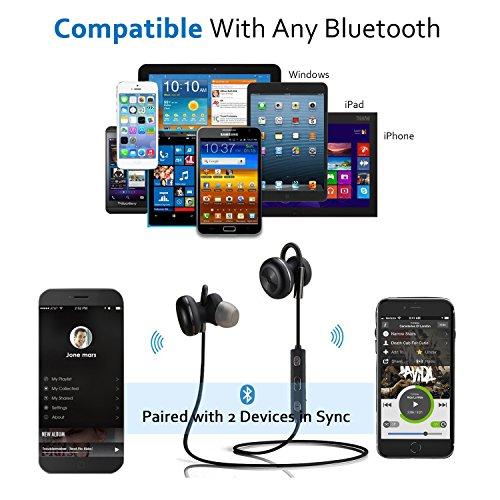 Bluetooth Kopfhörer Bovon Kabellose Magnetische Attraktive IPX4 Spritzwasserfest Sport Headset Stereo In-Ear Ohrhörer mit Mikrofon für iPhone, iPad, Samsung, Nexus, HTC und mehr (schwarz) - 5