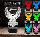 HARLEY DAVIDSON Lampada 7 colori a led logo moto motocicletta MULTICOLORE Idea Regalo personalizzabile con nome