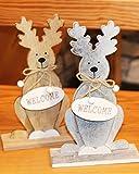 Kamaca 2 er Set XL- Elch Rentier Welcome/Merry Christmas je 20,5 cm Hoch, aus Holz Gefertigt, beeindruckende Dekoration für Herbst Advent und Weihnachten Winter Shop
