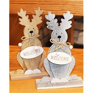 Kamaca-2-er-Set-XL-ELCH-Rentier-WelcomeMerry-Christmas-je-205-cm-hoch-aus-Holz-gefertigt-beeindruckende-Dekoration-fr-Herbst-Advent-und-Weihnachten-Winter