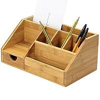 Bamboo Stationery Organiser Letter Rack Notes Pen Pencil Holder