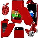 """Vivo Y69 (5.5"""") - PU-lederne Schieben-Oben / unten-Frühlings-Taschen-Oberseiten-Schlag-Folio-Telefon-Kasten-Abdeckung + Doppelaufladeeinheits-Aufladeeinheit + Mikro-USB-1 Meter-flaches Datenkabel - Rot"""