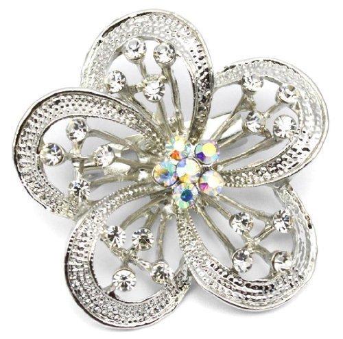 Elixir77UK plata flor color Pin broche de la boda fiesta nupcial con lisos y brillantes cristales de AB