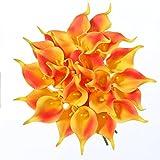 Veryhome 20 Stück künstliche Calla Lilie Blumen Latex echten Strauß für Zuhause, Party, Hochzeit, Dekoration (orange)